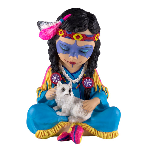 Cosplay Kids Indian Girl With Wolf Pup Figurine