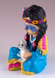 "Cosplay Kids Indian Girl With Wolf Pup Figurine 4.5""H"