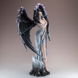 Gothic Dark Angel Fairy With Feather Wings Figurine 3