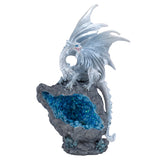 Pearly White Dragon On Faux Geode Rock With LED Light 1