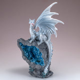 Pearly White Dragon On Faux Geode Rock With LED Light 2