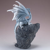 Pearly White Dragon On Faux Geode Rock With LED Light 4