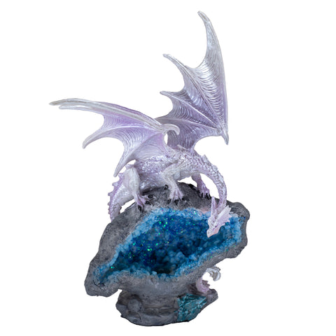 Pearly Purple Dragon On Faux Geode Rock With LED Light 1