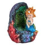 Blue Mermaid On Rock Figurine 1