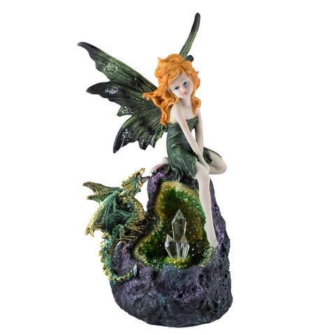 Green Fairy & Dragon With LED Crystals Figurine 1