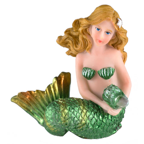 Mermaid Figurine Green Holding Conch Shell