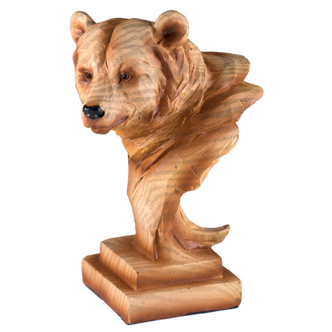 Bear Head Mini Bust Faux Carved Wood Look Figurine