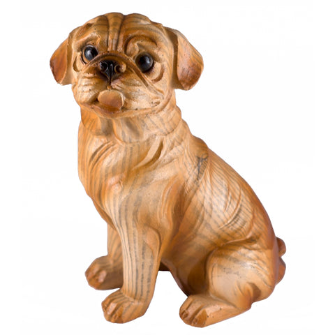 Boxer Faux Carved Wood Look Dog Figurine