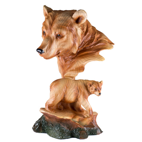 Bear Head Bust Faux Carved Wood Look Figurine