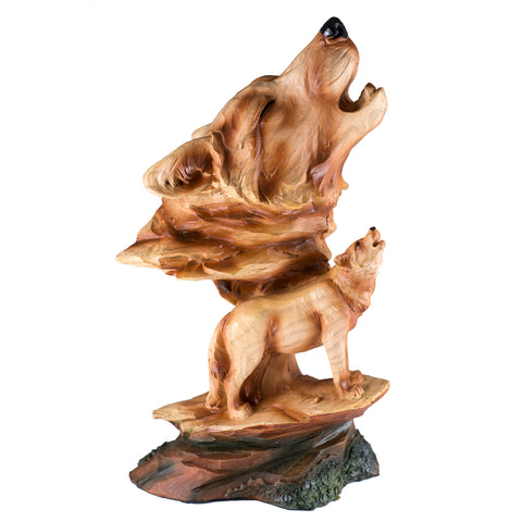 Howling Wolf Head Bust Faux Carved Wood Look Figurine 1