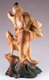 Howling Wolf Head Bust Faux Carved Wood Look Figurine 3