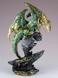 Green and Gold Sparkly Dragon Figurine With Prism Gem Jewel 3