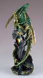 Green and Gold Sparkly Dragon Figurine With Prism Gem Jewel 4