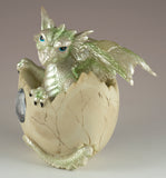 Dragon Figurine Light Green Baby Hatching from Egg 2