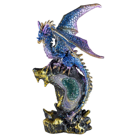 Blue and Purple Sparkly Dragon Figurine On Geode Rock