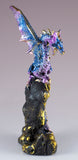 Blue and Purple Sparkly Dragon Figurine On Geode Rock 2