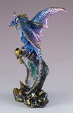 Blue and Purple Sparkly Dragon Figurine On Geode Rock 4