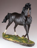 Black/Dark Brown Horse Stallion Figurine