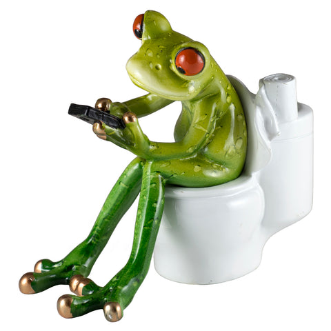 Frog Texting On Toilet Figurine