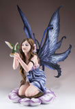 Large Blue Fairy In Flower With Hummingbird Figurine 2