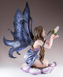Large Blue Fairy In Flower With Hummingbird Figurine 4