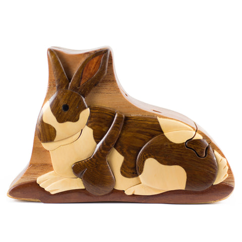 Rabbit Wood Intarsia Puzzle Trinket Box