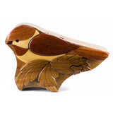 Chickadee Wood Intarsia Puzzle Trinket Box