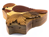 Chickadee Wood Intarsia Puzzle Trinket Box 2