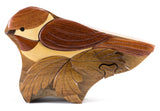 Chickadee Wood Intarsia Puzzle Trinket Box 6