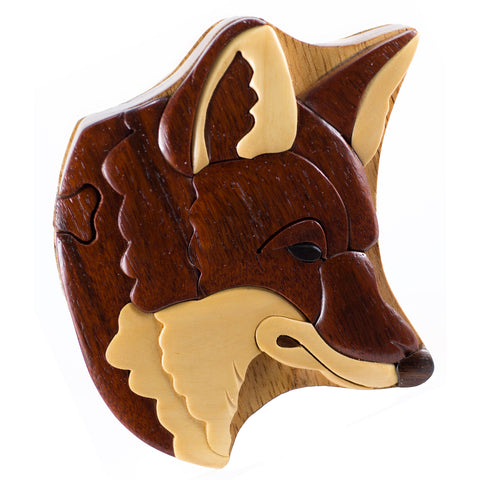 Wood Intarsia Red Fox Puzzle Trinket Box