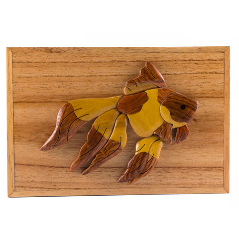 Wood Intarsia Goldfish Fish Hinged Trinket Box