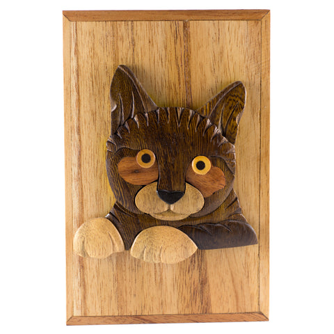 Wood Intarsia Cat Hinged Trinket Box