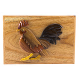 Wood Intarsia Rooster Chicken Hinged Trinket Box
