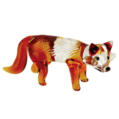 Fox Miniature Hand Blown Boro Glass Figurine