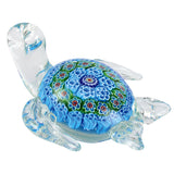Blue Millefiori Sea Turtle Hand Blown Glass Figurine