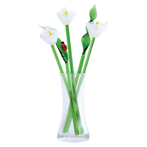 glass flower bouquet white calla lily