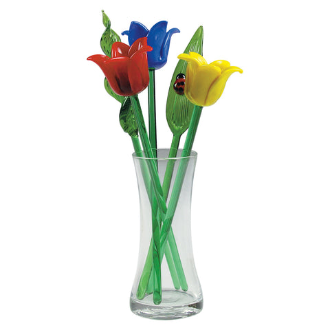 glass flower bouquet spring tulips