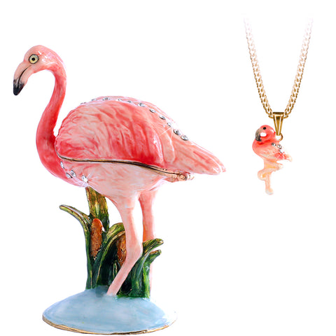 Secrets Flamingo Bejeweled Trinket Box With Hidden Pendant Necklace