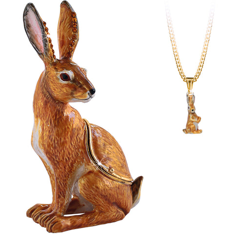 Secrets Hare Rabbit Trinket Box With Hidden Pendant