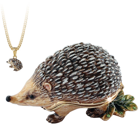 Secrets Hedgehog Trinket Box With Hidden Pendant Necklace