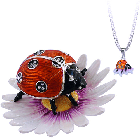 Secrets Ladybug Bejeweled Trinket Box With Hidden Pendant Necklace