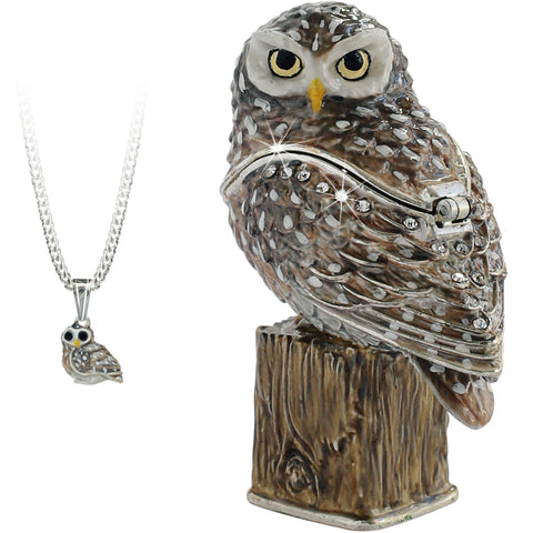 Secrets Owl Trinket Box With Hidden Pendant