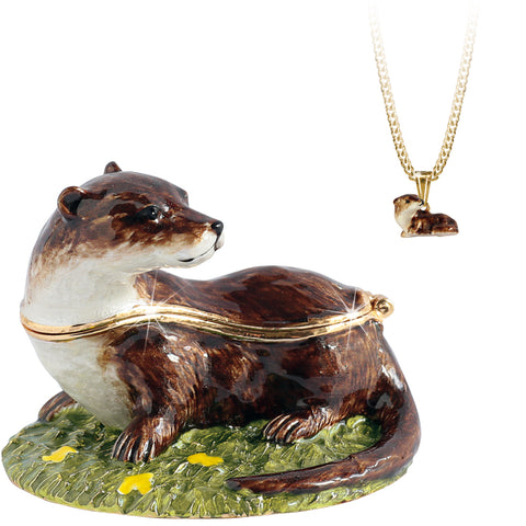 Secrets Otter Trinket Box With Hidden Pendant Necklace
