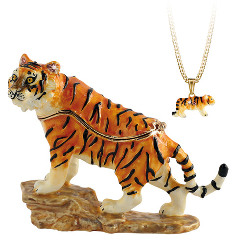 Secrets Tiger Trinket Box With Hidden Pendant Necklace