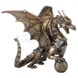 Steampunk Dragon With Sphere Figurine Statue 5