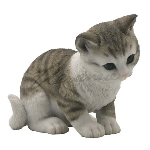 Gray and White Striped Kitten Cat Figurine