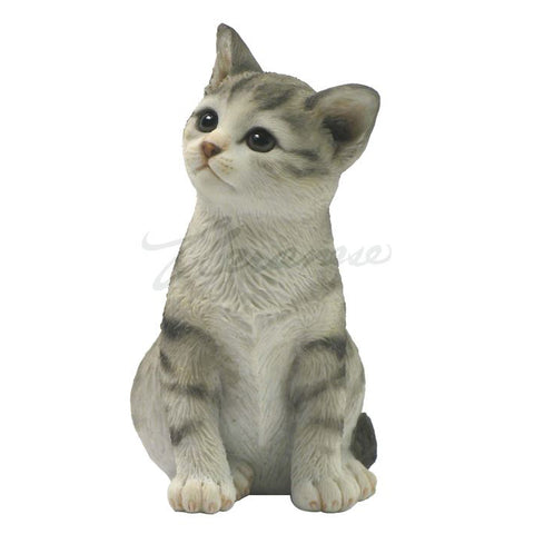 Gray Striped Sitting Tabby Kitten Cat Figurine