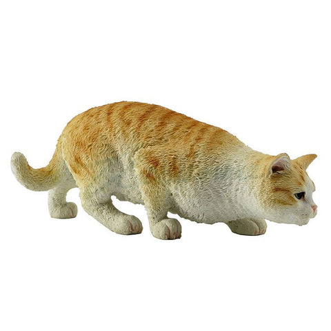 Orange Striped Shorthair Tabby Cat Figurine Stalking