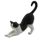 Black and white stretching cat figurine 1