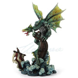 Green Sea Dragon On Sunken Viking Ship Figurine